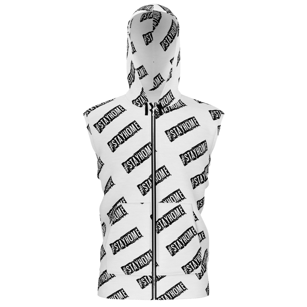#StayHome Men's Sleeveless Zip 2 Panel Lined Hoodie 350GSM(White)