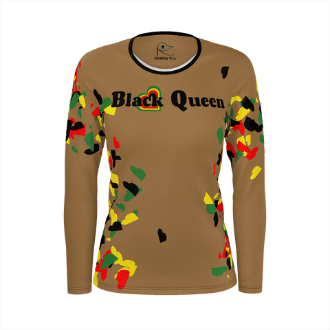 Black Queen - Love Hearts on Brown : Women's LS Shirt Poly
