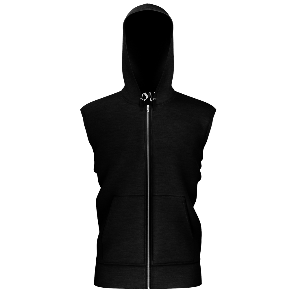 Remember the Lost Men's Sleeveless Zip 2 Panel Lined Hoodie 350GSM (Black)