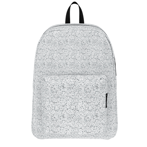 black/white splatter backpack