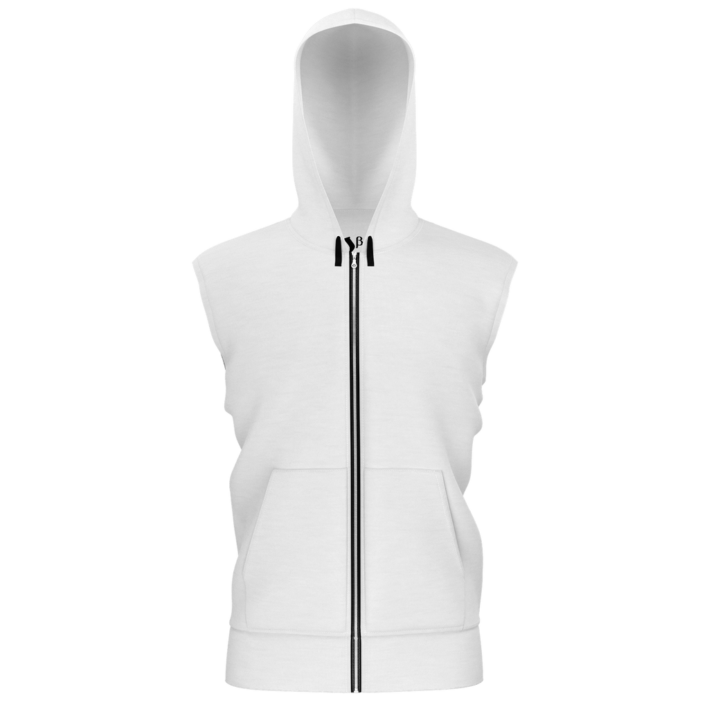 Remember the Lost Men's Sleeveless Zip 2 Panel Lined Hoodie 350GSM (White)