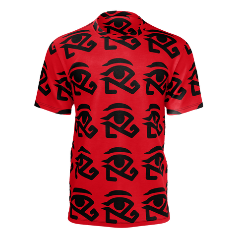 red shirt with full logo