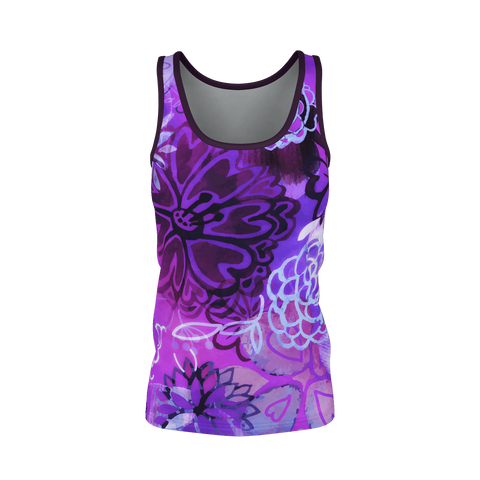 GRUNGE URBAN PURPLE FLOWERS Tank Top
