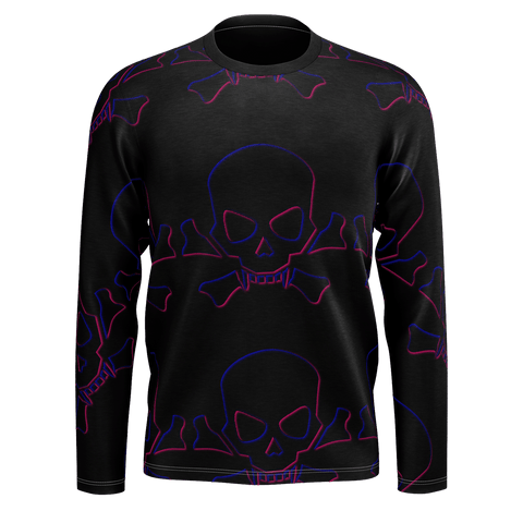 DARK GLOWING SKULLS LONG S;EEVE T MENS