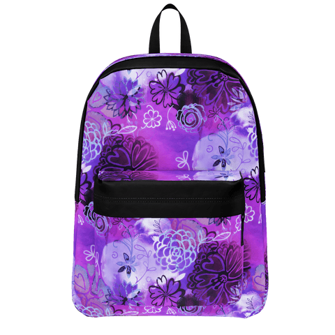 GRUNGE URBAN PURPLE FLOWERS BACKPACK