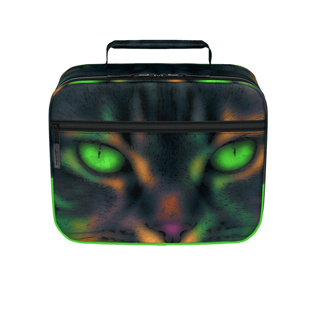 BLUR COLORFUL GREEN EYES POP ART PET CAT LUNCH BOX