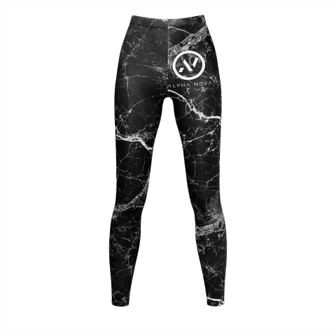 womens black marble yoga pants