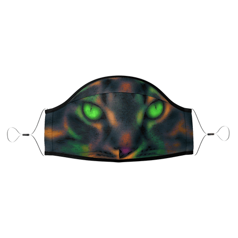 Blur Colorful Green Eyes Pop Art Pet Cat Face Mask