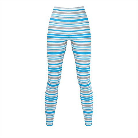 Blue Grey Stripes  Leggings