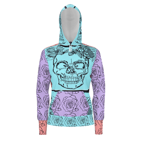 BE ART SKULLS ROSE WOMENS HOODIE