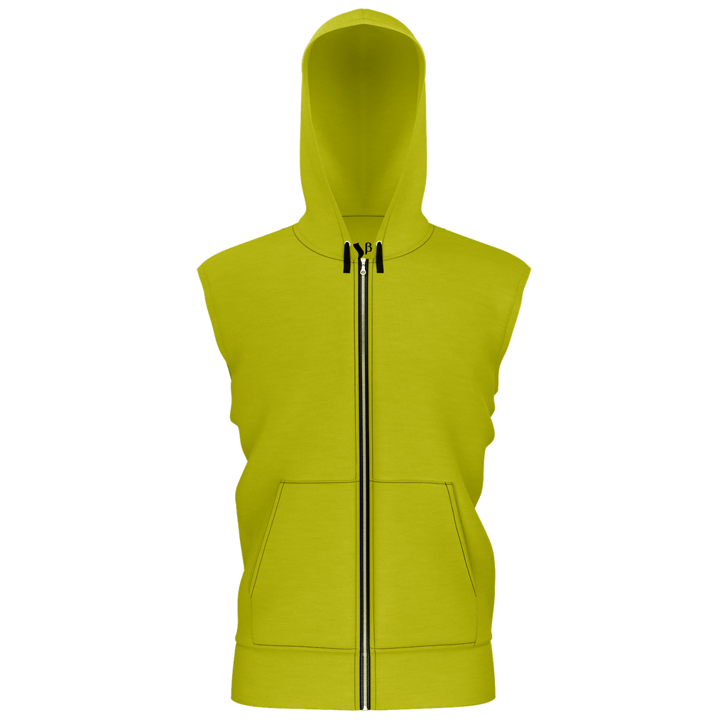 #StayHome Men's Sleeveless Zip 2 Panel Lined Hoodie 350GSM(Mustard 2)