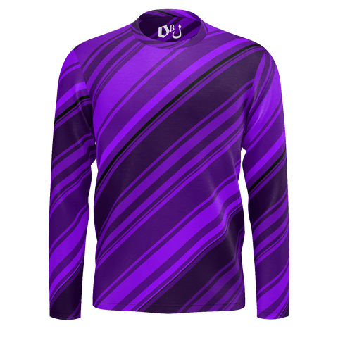Black/Purple Diagonal Striped Men's Long Sleeve SJ T-Shirt