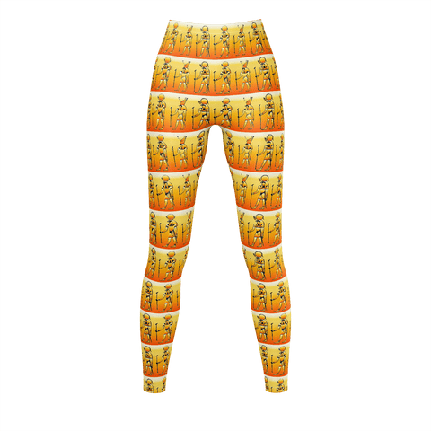 Ra Horus orange levels leggings sky