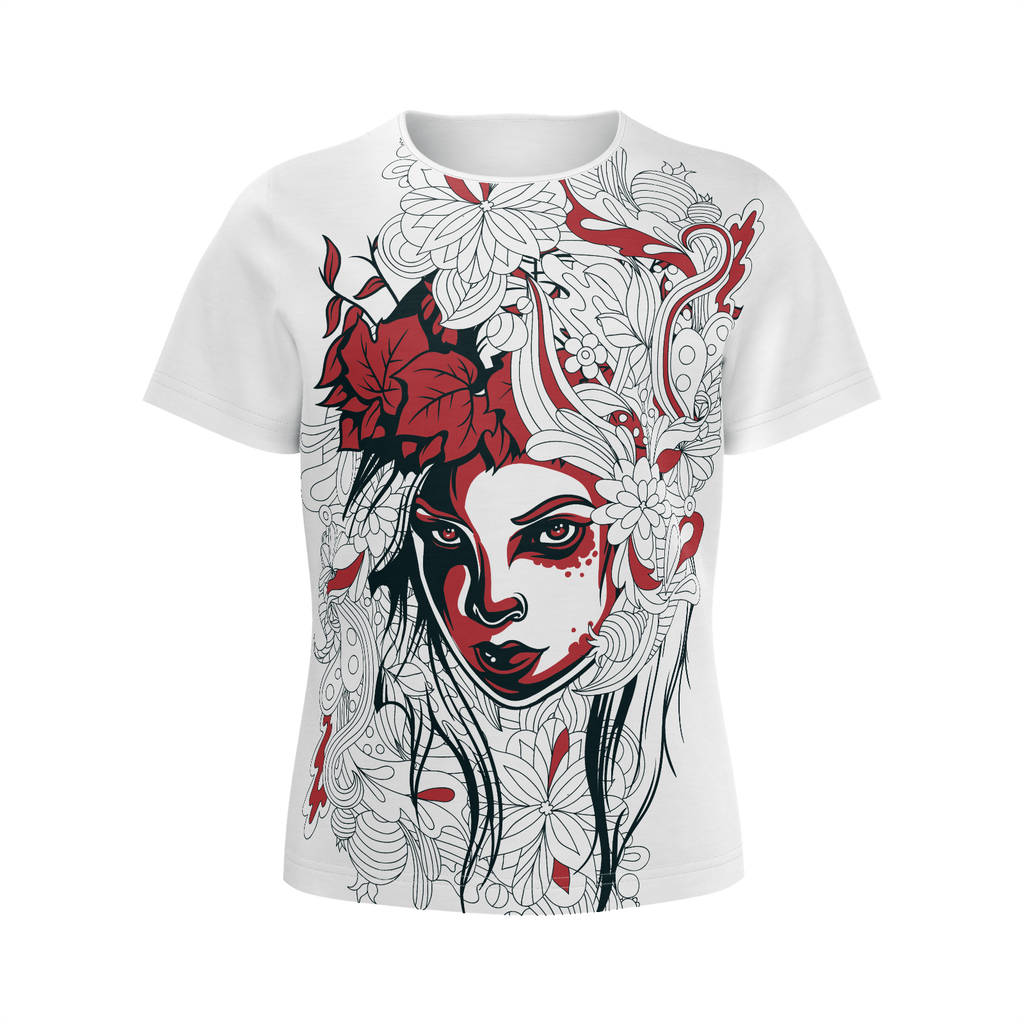 Floral Girl - Illustration Of Beauty Floral Woman T-shirt