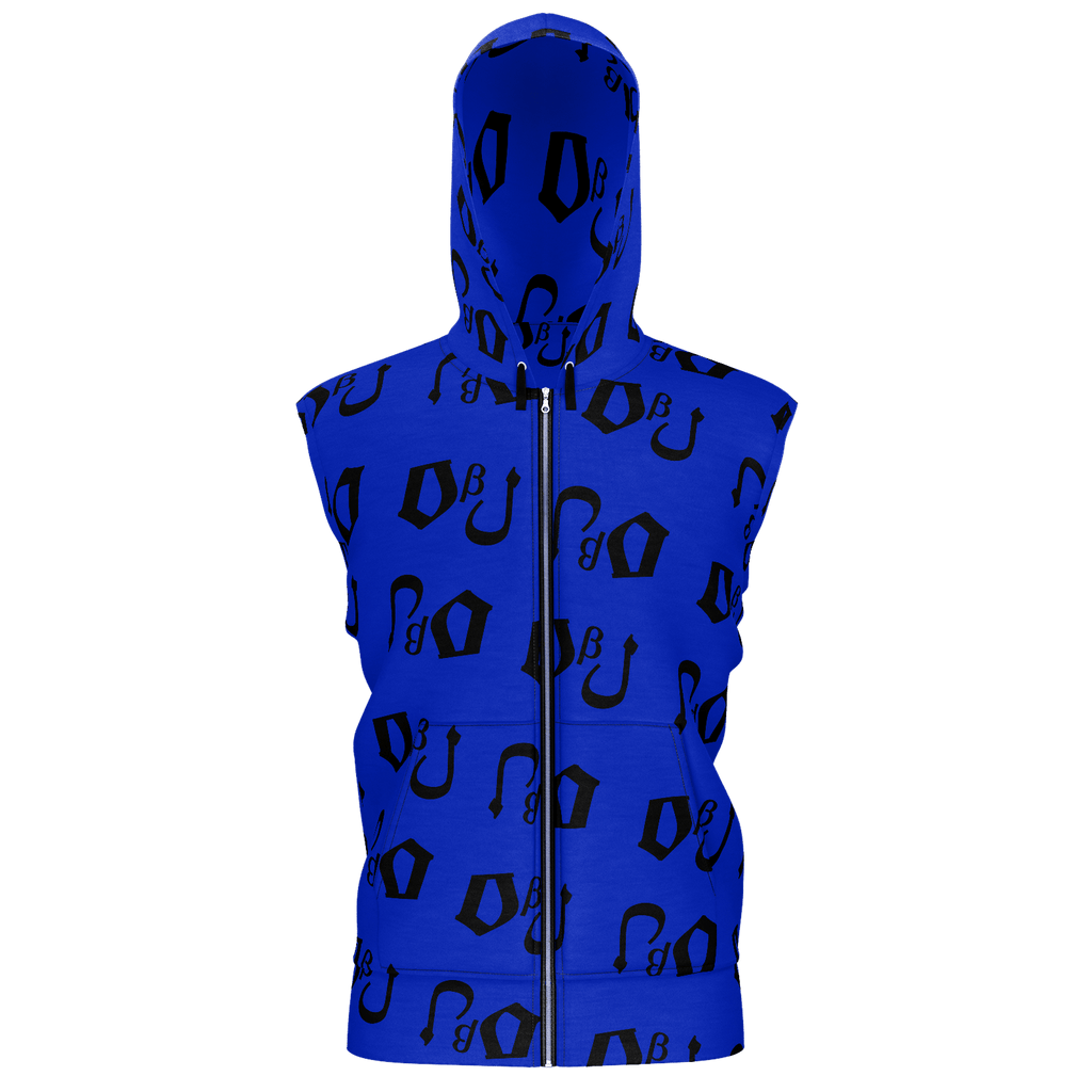 DbJ Men's Sleeveless Zip 2 Panel Lined Hoodie 350GSM(Blue)