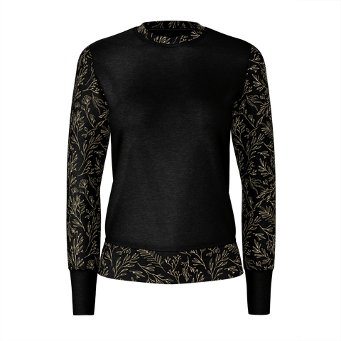 Elegant Black Gold Abstract Floral Sweatshirt