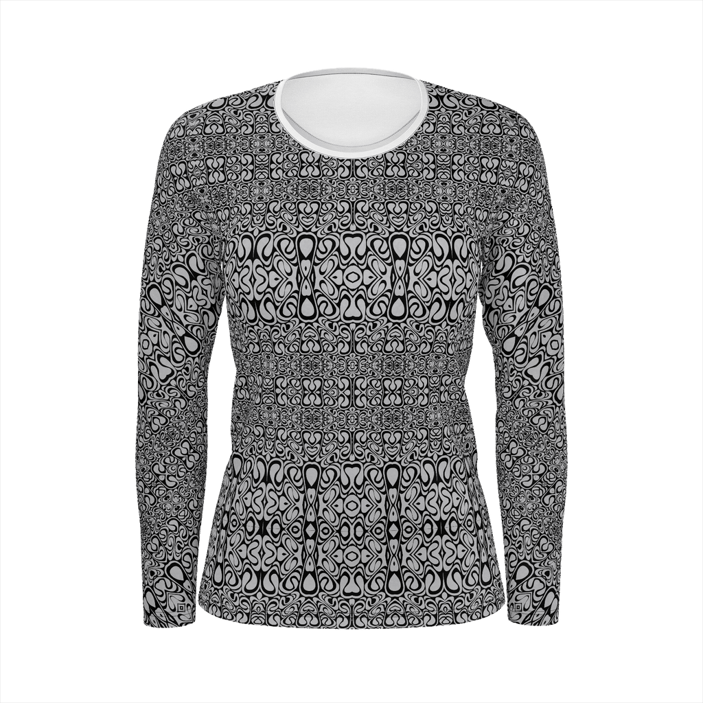 Aluminum and Black Bridget Riley inspired Pattern - Women's long sleeve shirt