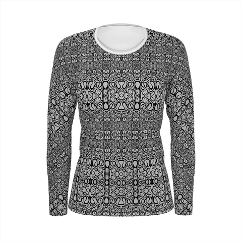Women's long sleeve shirt - Aluminum and Black Bridget Riley inspired Pattern
