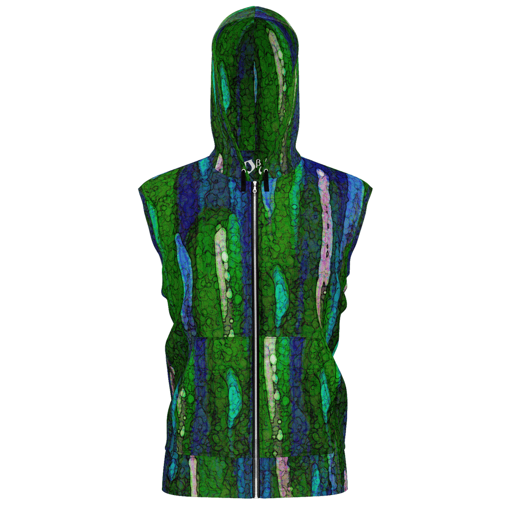 Green Paint Daubs Men's Sleeveless Zip 2 Panel Lined Hoodie 350GSM