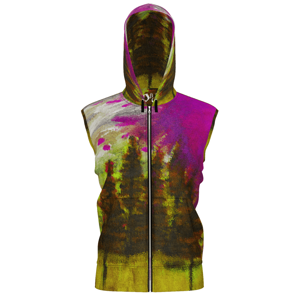 Yellow Forest Men's Sleeveless Zip 2 Panel Lined Hoodie 350GSM