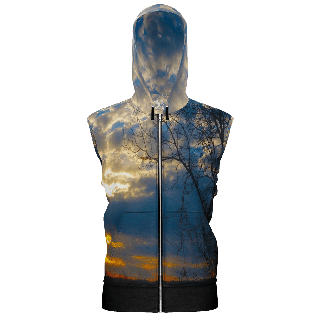 Country Sunrise Men's Sleeveless Zip 2 Panel Lined Hoodie 350GSM