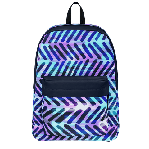 Blue Hippy Chevron Pattern Backpack