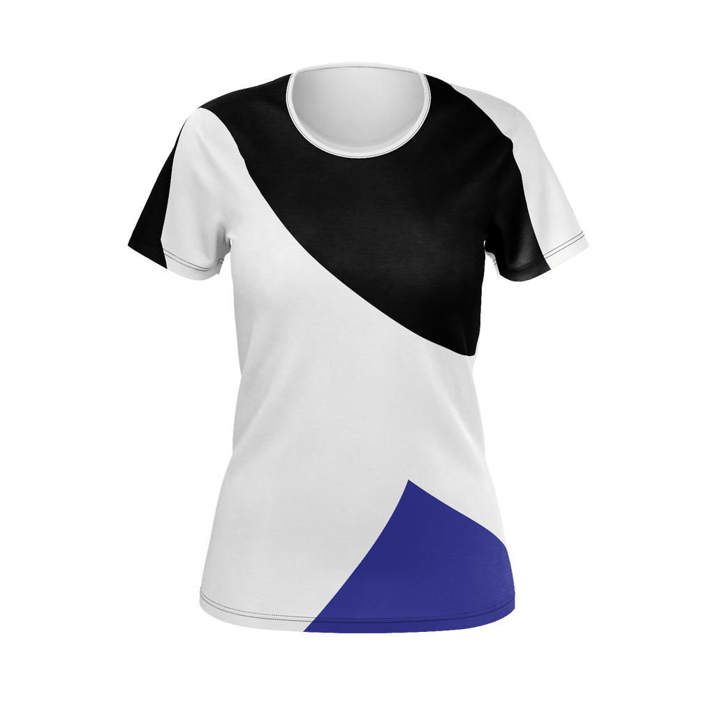 CVMUSIC ABSTRACT STYLE White Black Blue w LOGO LADIES
