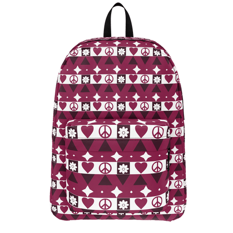 Peace and Love pattern backpack