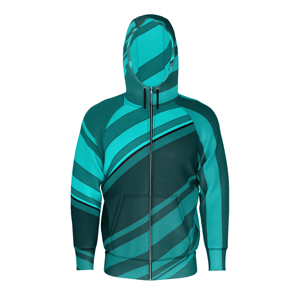 Black/Cyan Diagonal Striped Men's Raglan Zip Hoodie 260GSM Cotton