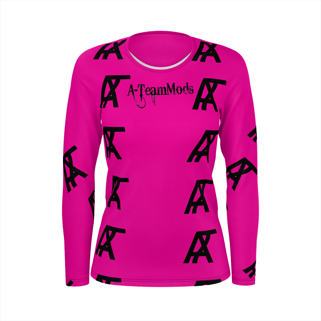 Girls Rose Pink A-TeamMods Pattern Fill Long Sleeve