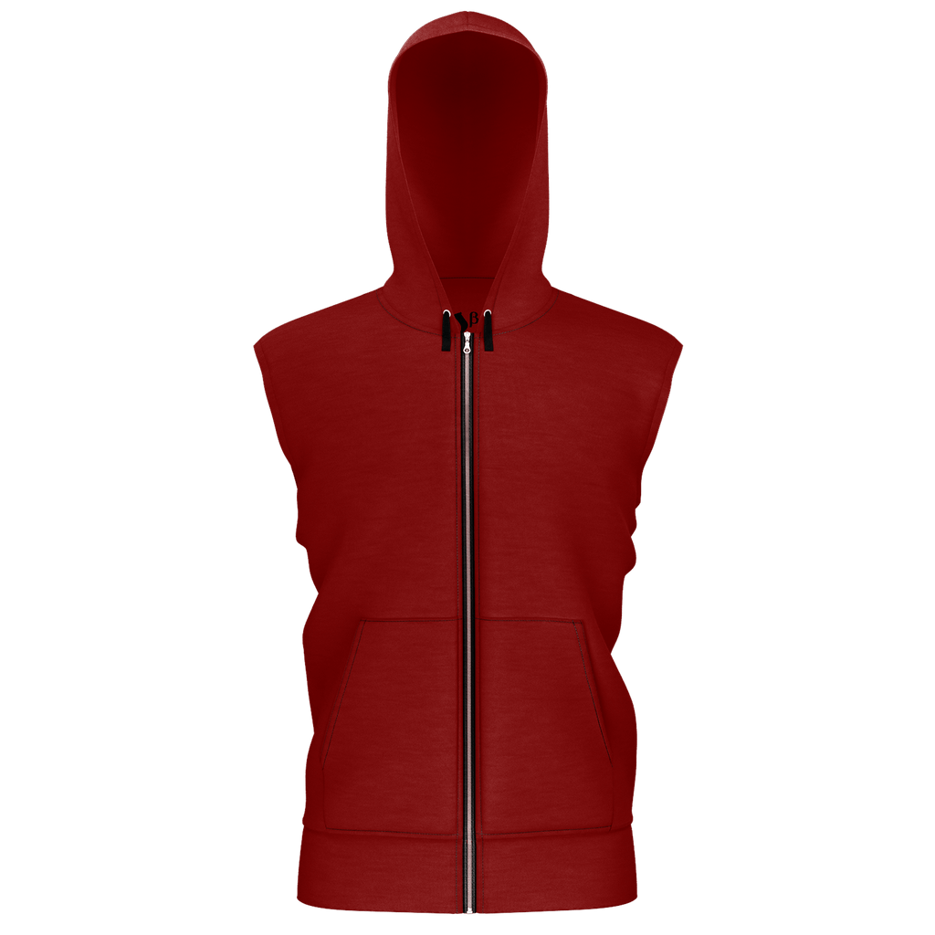 #StayHome Men's Sleeveless Zip 2 Panel Lined Hoodie 350GSM (Maroon 2)
