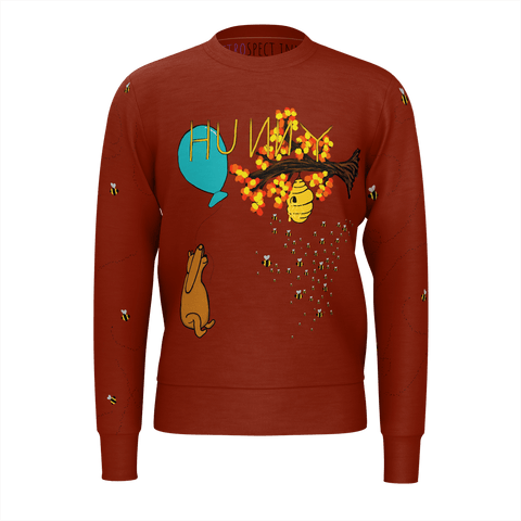 HUNNY Men's Sweatshirt w/bees (Dark Red)