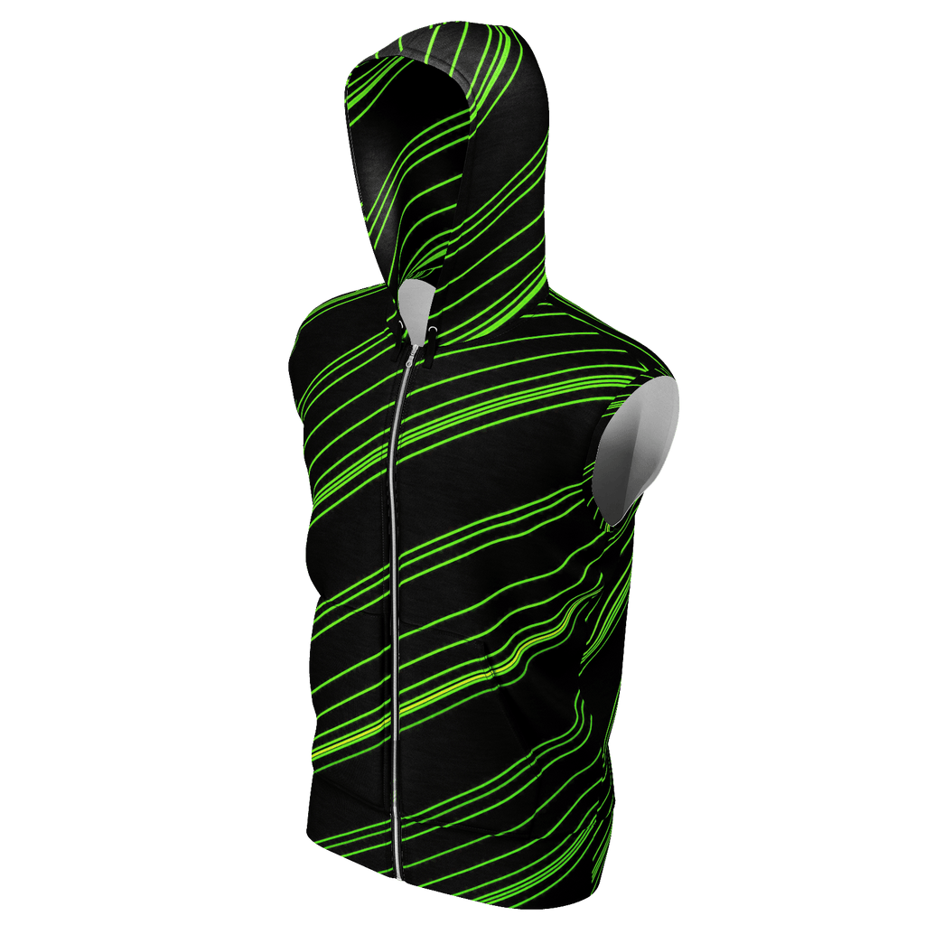 Green/Black Diagonal Striped Men's Sleeveless Zip 2 Panel Lined Hoodie 350GSM