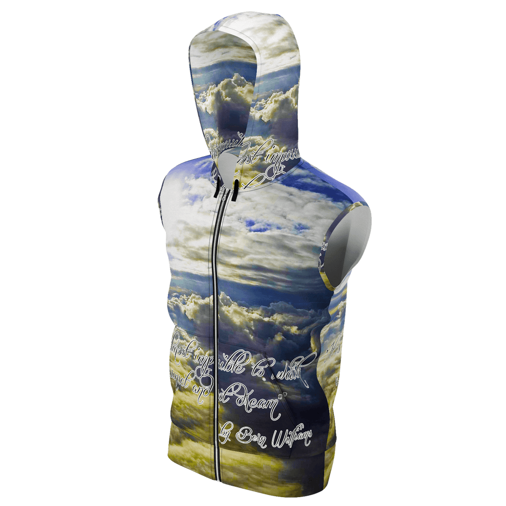 Above the Clouds (Quote) Men's Sleeveless Zip 2 Panel Lined Hoodie 350GSM