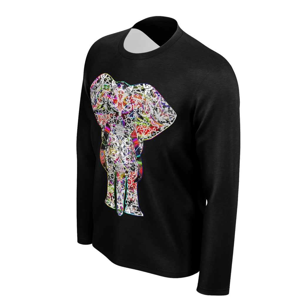 Rainbow White Elephant on Black - Men's long Sleeve