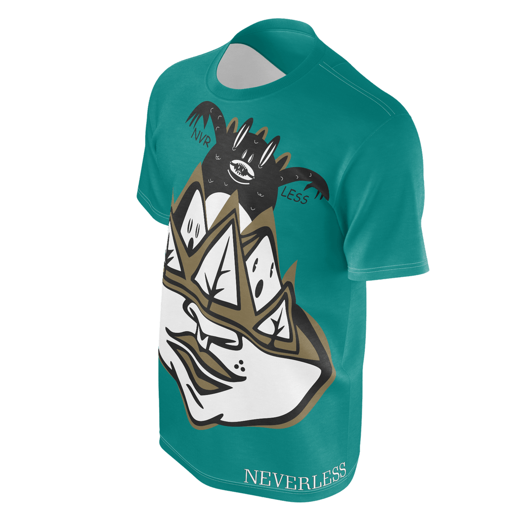 NEVERLESS mountain monsters teal shirt