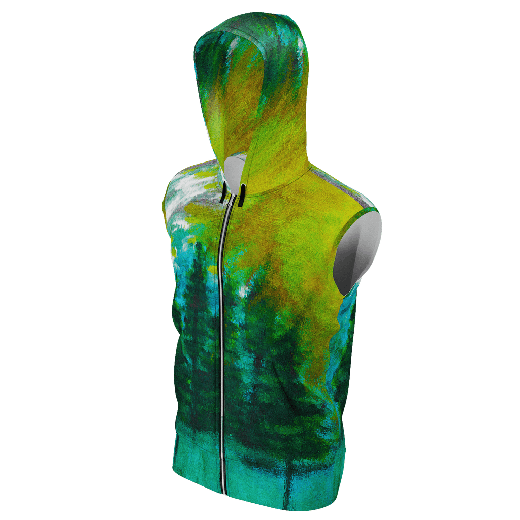Green Forest Men's Sleeveless Zip 2 Panel Lined Hoodie 350GSM