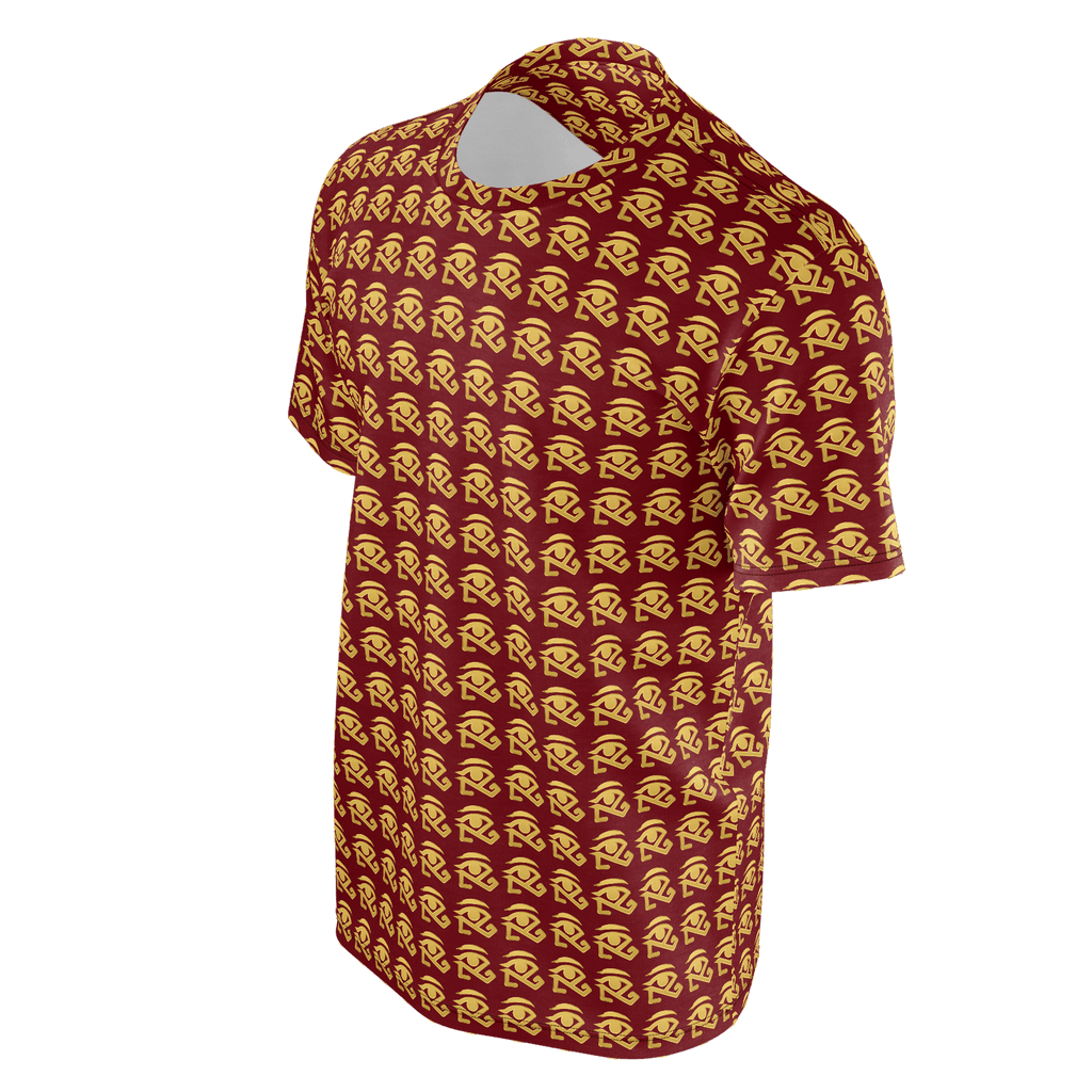 maroon shirt with gold 360 logo