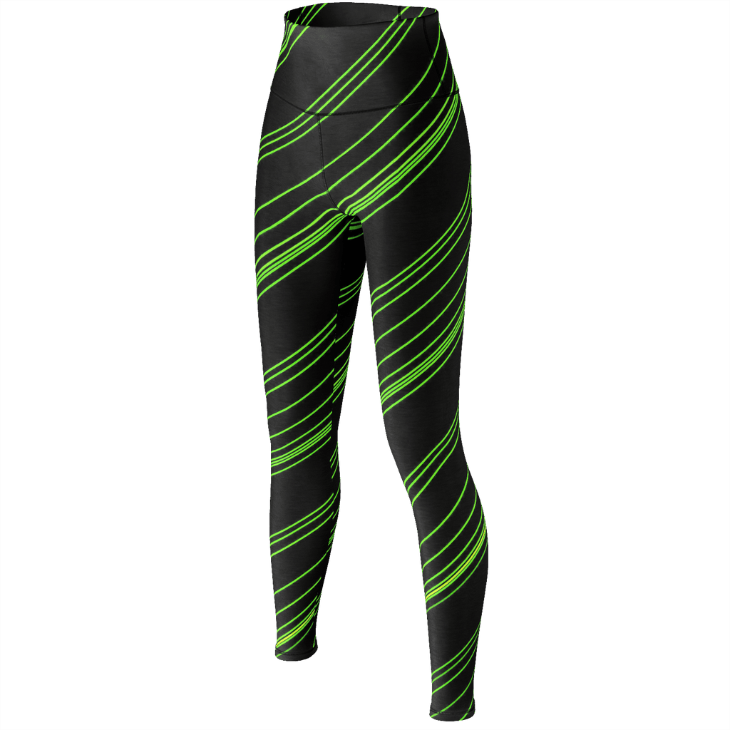 Green/Black Diagonal Striped Yoga Pants