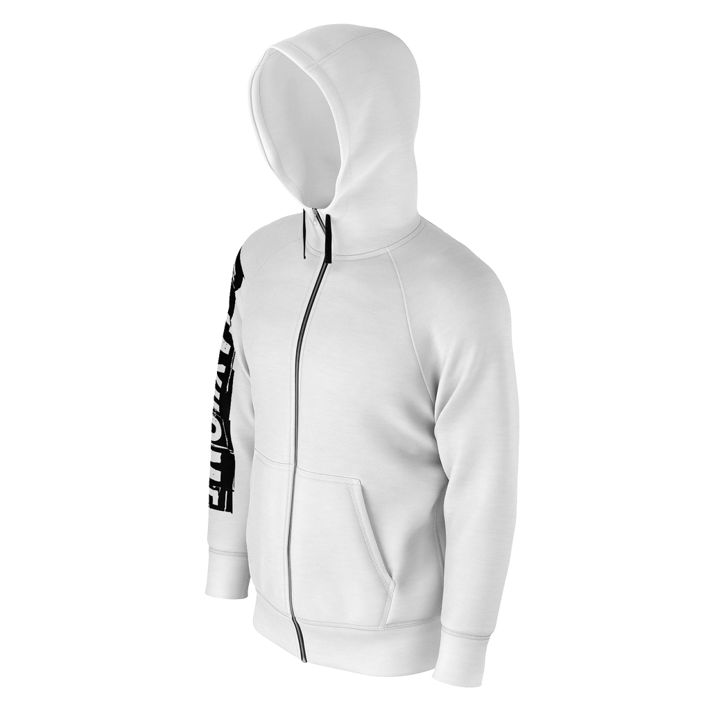 #StayHome Men's Raglan Zip Hoodie 260GSM Cotton(White 2)