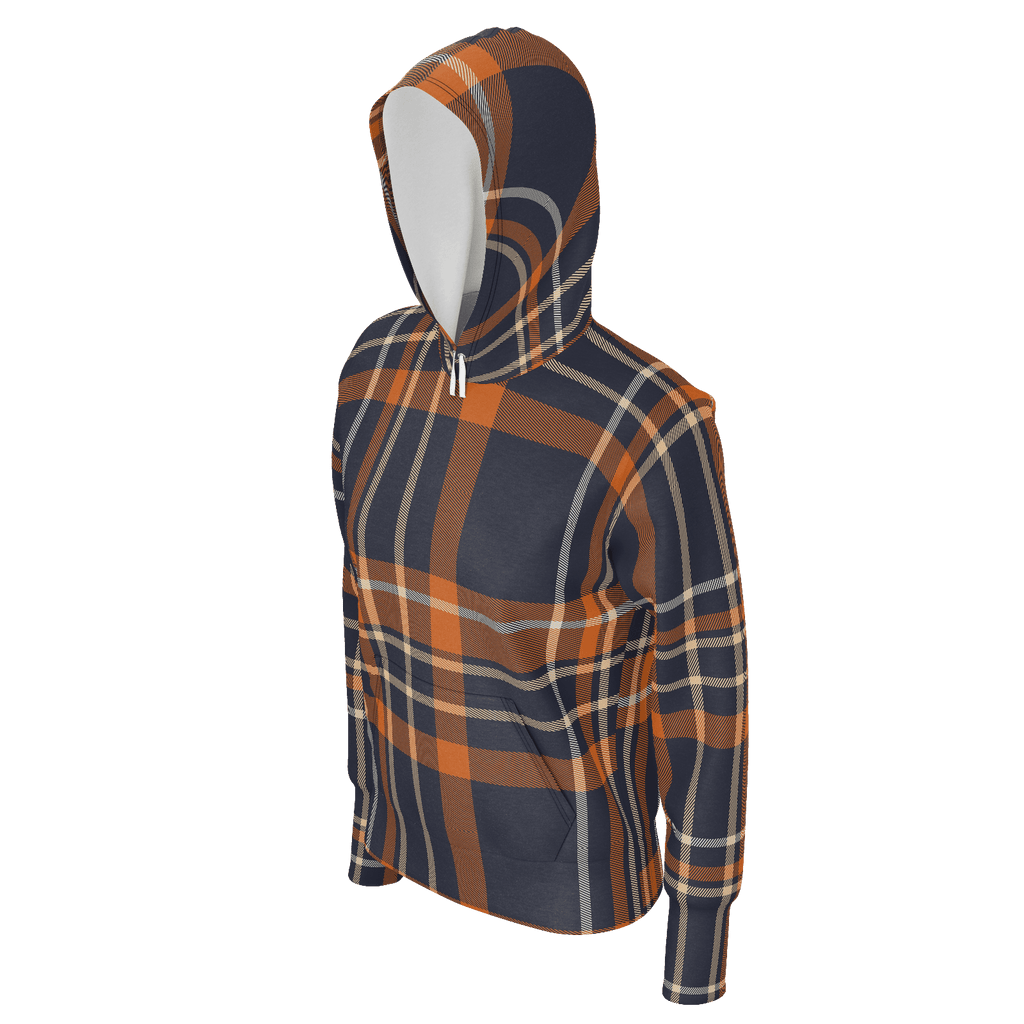 Orange Checkered Pattern Hoodie