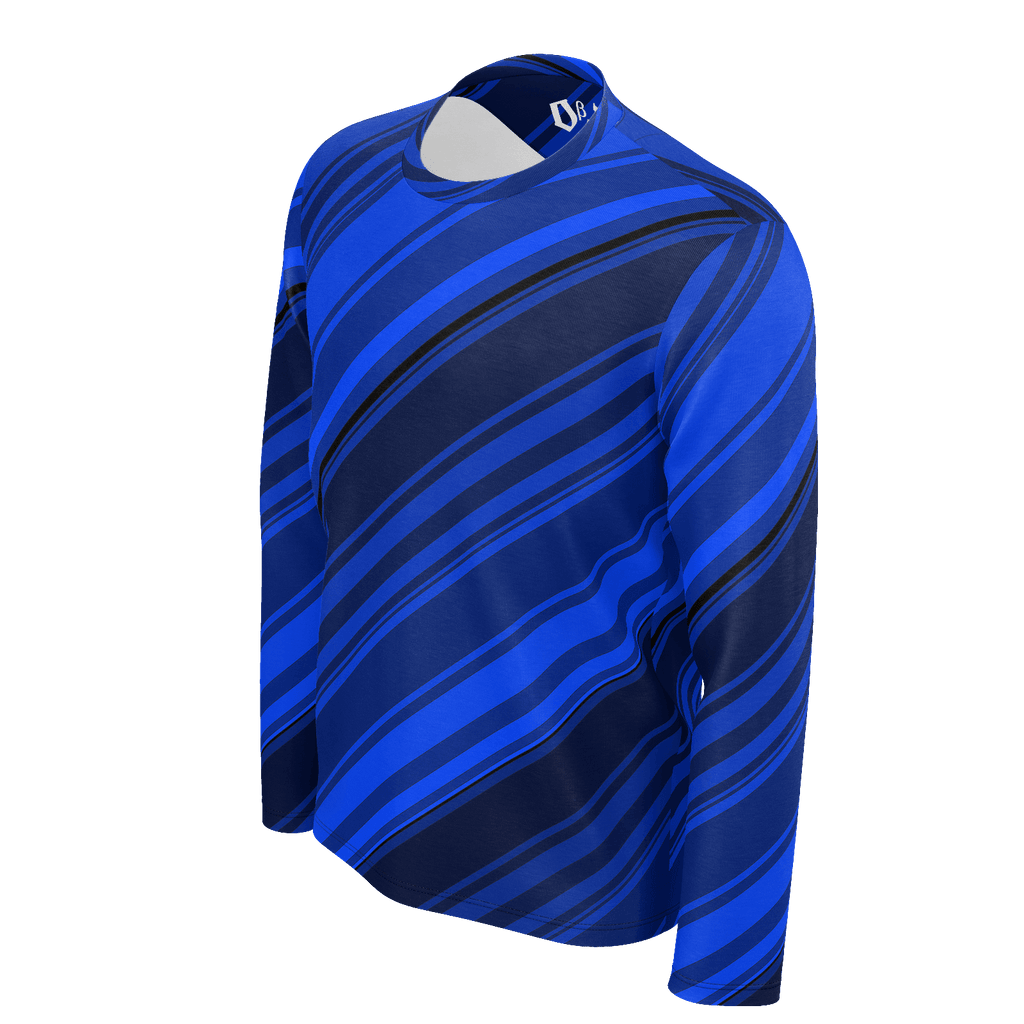 Black/Blue Diagonal Striped Men's Long Sleeve SJ T-Shirt