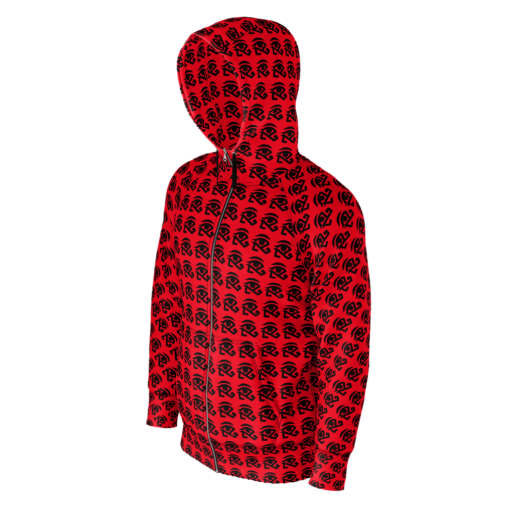 red hoodie with small 360 logo