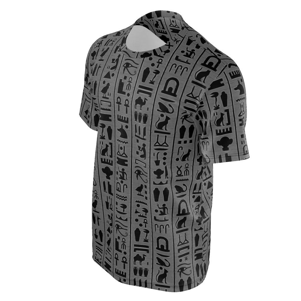 Ancient Egypt Hieroglyphic Grayscale Man Tee