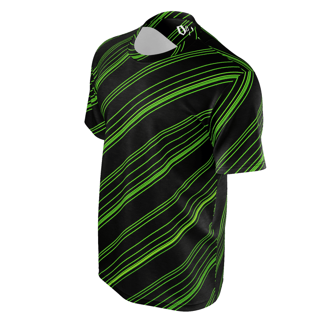 Green/Black Diagonal Striped Men's T-Shirt