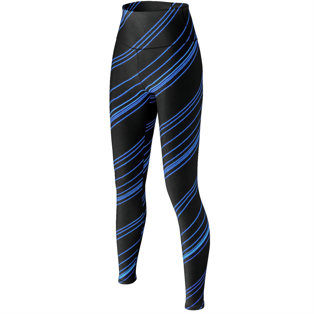 Blue/Black Diagonal Striped Yoga Pants