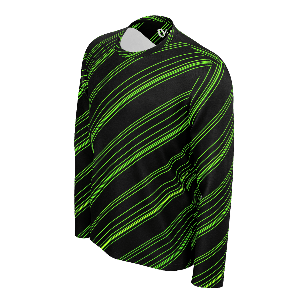 Green/Black Diagonal Striped Men's Long Sleeve SJ T-Shirt