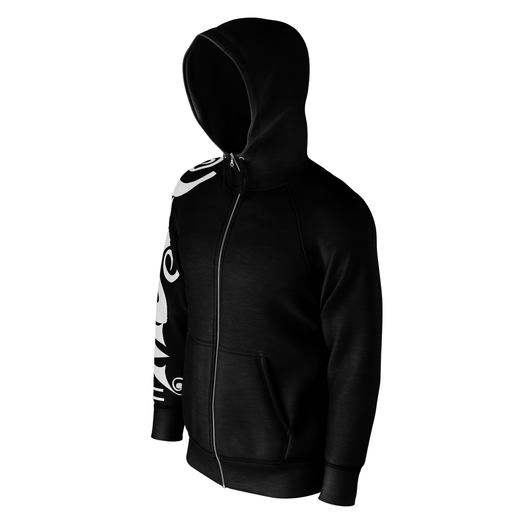#Music Men's Raglan Zip Hoodie 260GSM Cotton (Black)