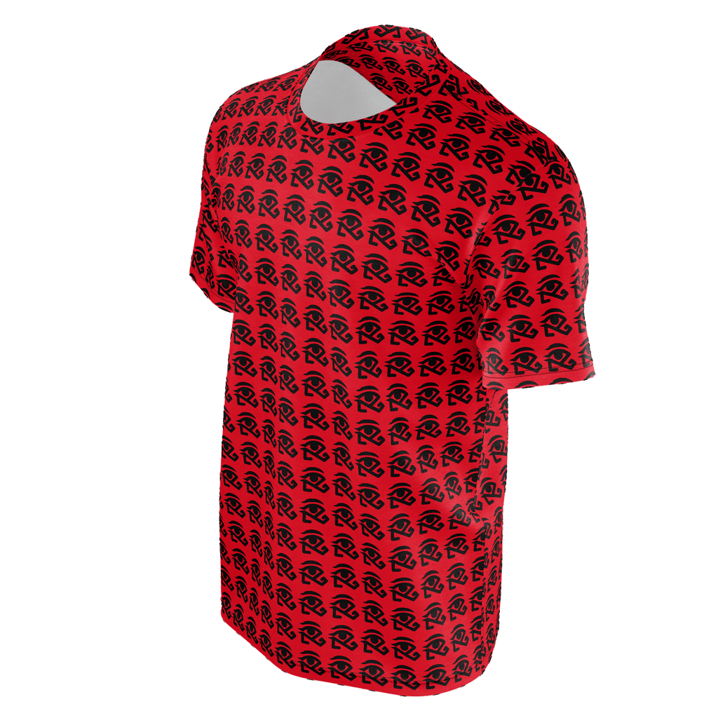 red shirt with small 360 logo