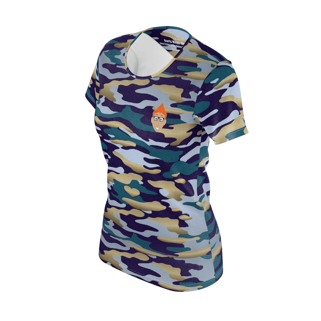 Womans Bart's Vlogs Camo T-shirt With Barts Logo